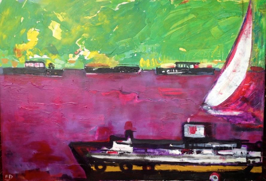 Péniches sur la Seine-Peinture-Acylique/toile 100cm/70cm/5cm-Paysage