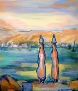 EEgypte 1-Peinture-Acrylique sur toile-65cm/54cm