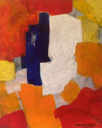 Couple- Peinture-Techniques mixtes-Rouge-jaune-Fait main-Oeuvre unique-65cm/54cm