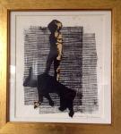Linogravure sur papier rehaussé de feuilles d'or-Pièce unique-