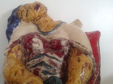 Thérèse-Sculpture-Inspiration cubiste-Terre cuite-Email au four-H 28/L26/P28cm-Fait main-Pièce unique