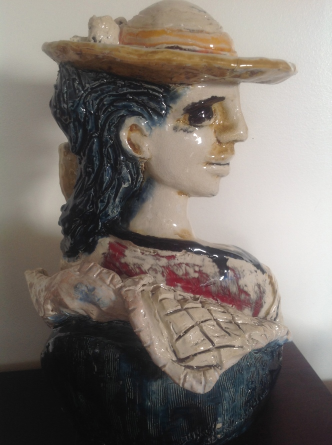Corine--Sculpture-déstructuré-Terre cuite-Email au four- H31/L21/P22cm-Fait main-Pièce unique
