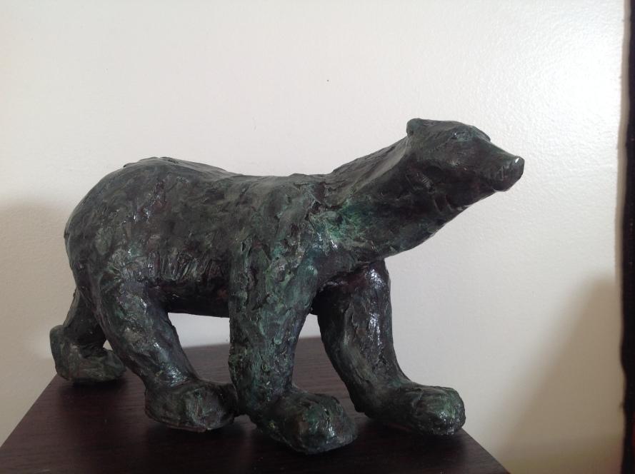 Ours-Sculpture-Terre cuite patinée bronze-Pièce unique
