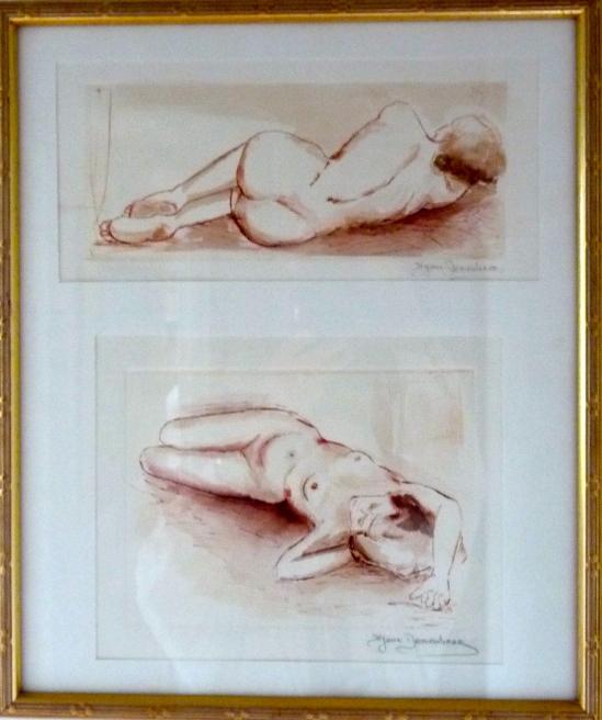 Gravure à la pointe sèche sur matrice en cuivre, reportée sur du papier chiffon-Sanguine et aquarelle.