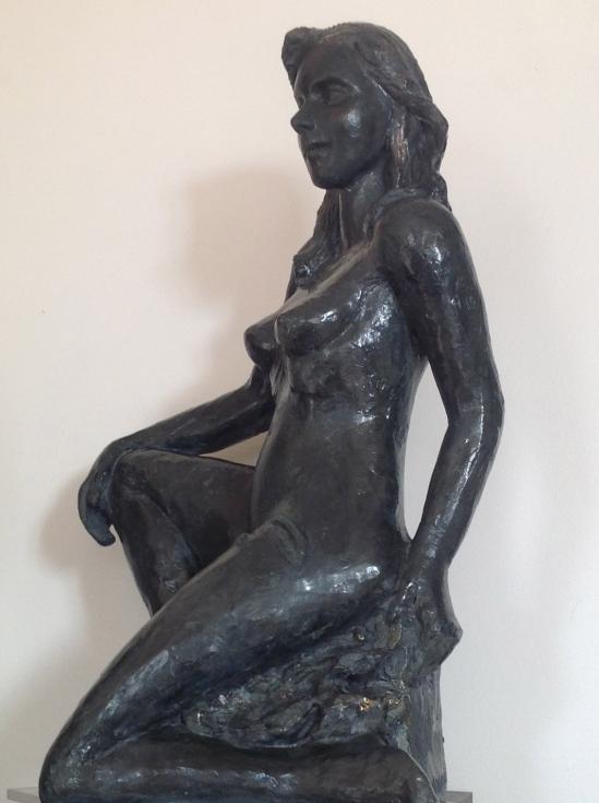 Kate-Nu-Sculpture-Figuratif-Terre cuite-Patine Bronze H45/L20/P32cm-Fait main-Pièce unique