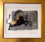 Linogravure sur papier d'Arche Torchon-rehaussée de feuilles d'or-Pièce unique-