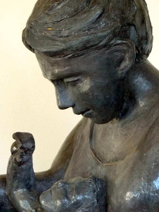 Maternité-Sculpture-Terre cuite-Inspiration cubiste-H46/L45/25cm-Patine Bronze-Fait main-Pièce unique.