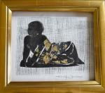 Linogravure sur papier d'Arche Torchon-rehaussée de feuilles d'or-Cadre-Pièce unique-fait main